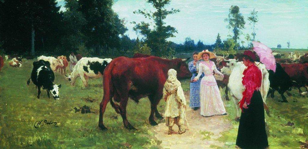 Илья Ефимович Репин. Барышни среди стада коров