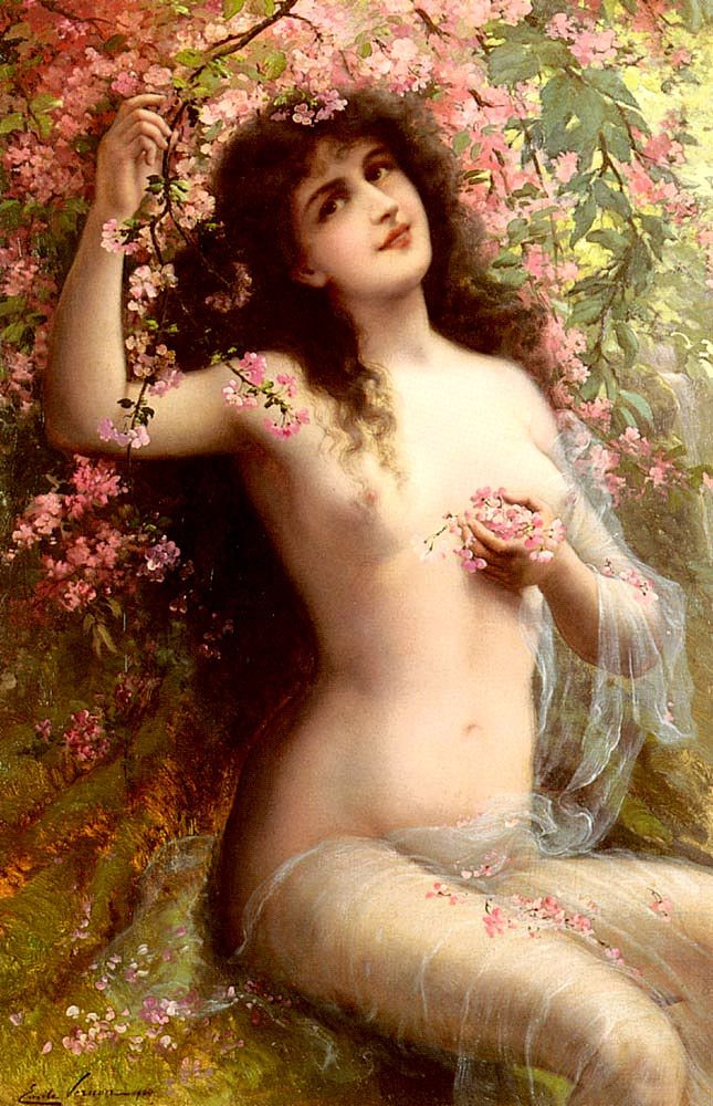 Emile Vernon. Among the flowers. 1904