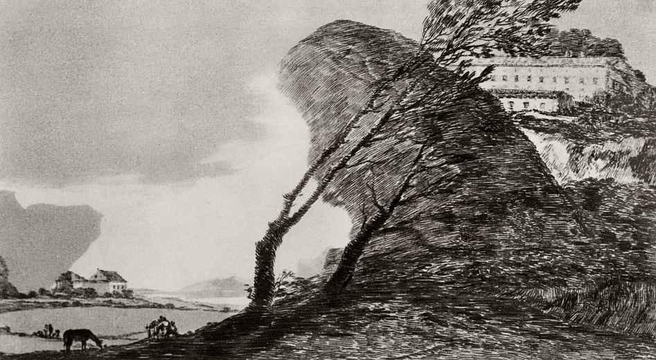 Франсиско Гойя. Пейзаж с большой скалой
