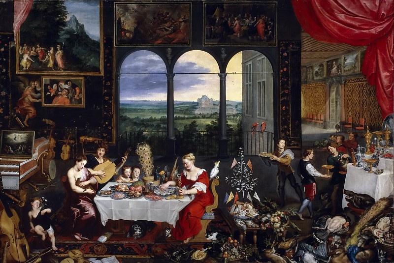 Jan Bruegel The Elder. Taste, hearing and touch