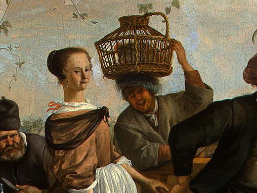 Ян Стен. Танцующая пара (фрагмент 13)