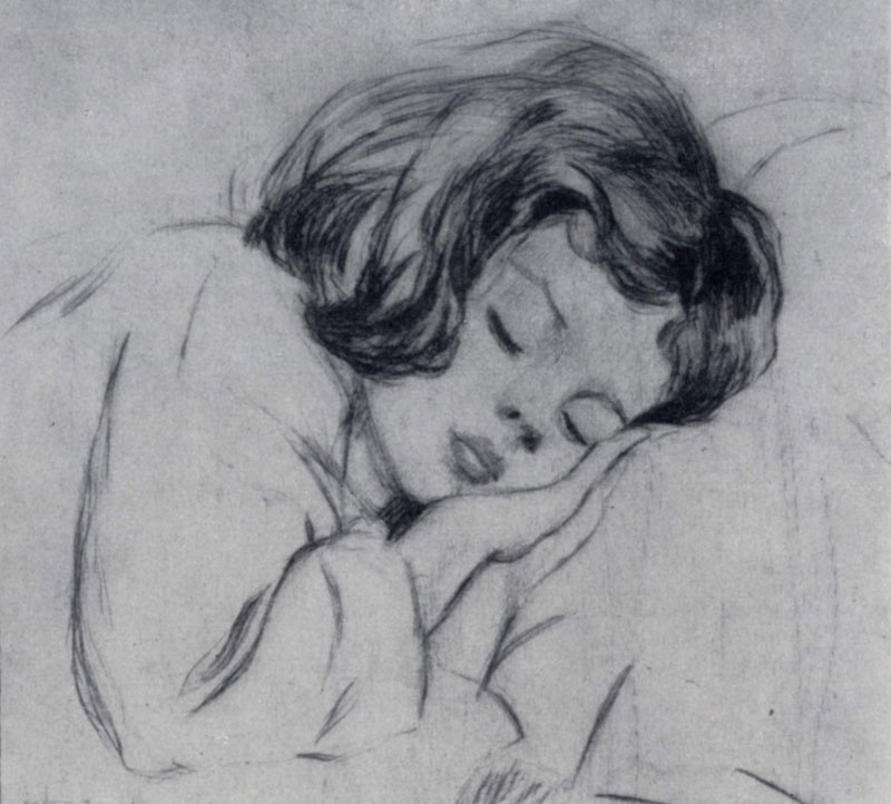 A.G. Bach-Liimand.. Sleeping baby. Dry needle. 1955 g.