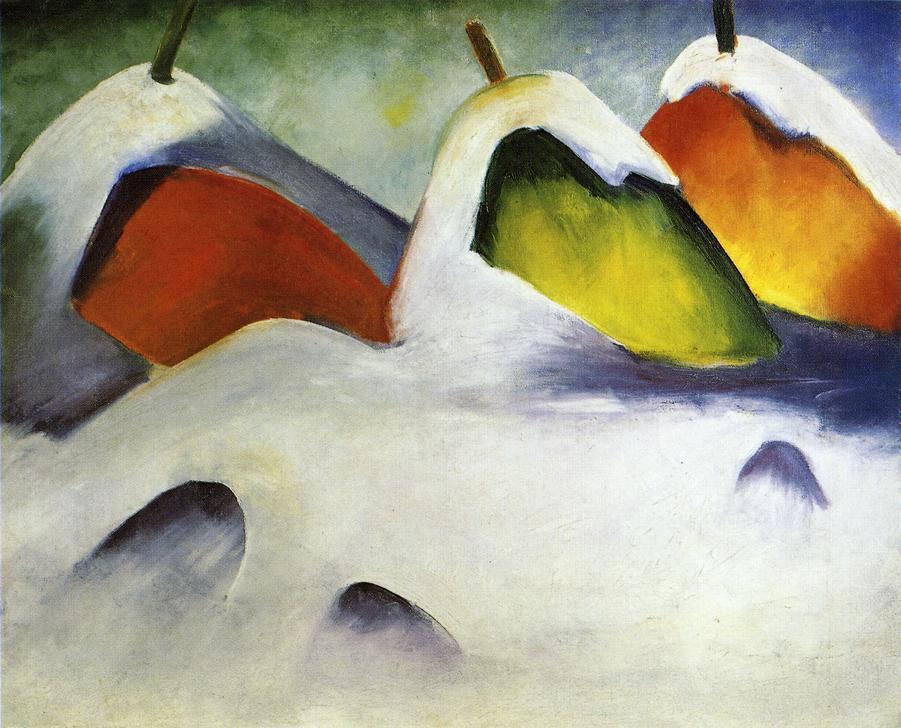 Franz Mark. Haystacks in the snow