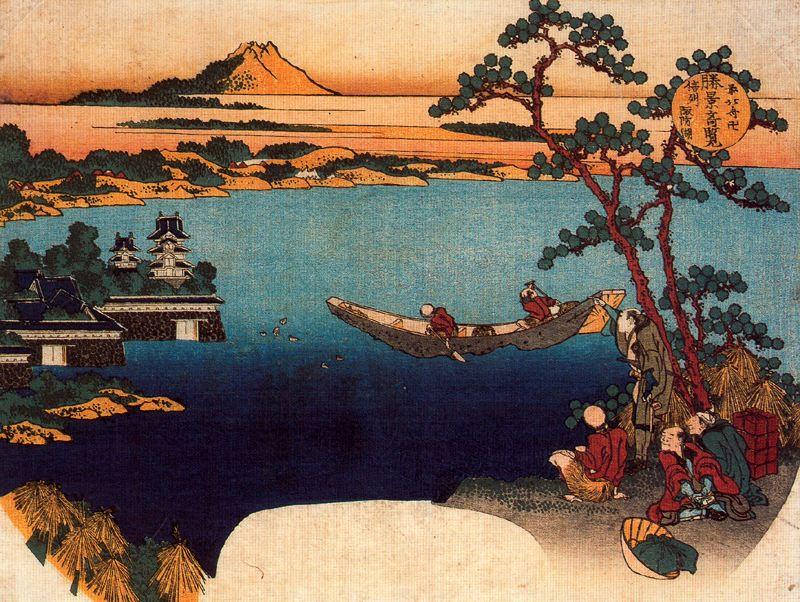 Кацусика Хокусай. Вид на озеро Сува