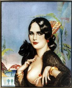 Альберто Варгас. Портрет женщины с кошкой