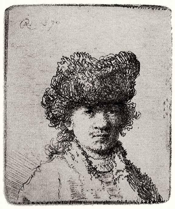 Рембрандт Ван Рейн. Автопортрет в меховой шапке