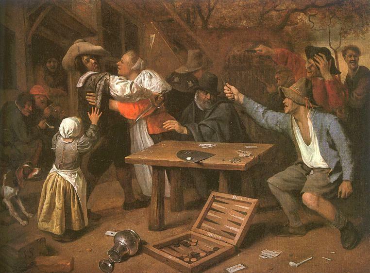 Ян Стен. Ссора игроков в карты