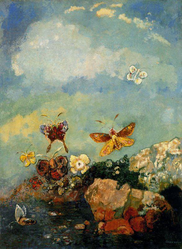 Одилон Редон. Разноцветные бабочки
