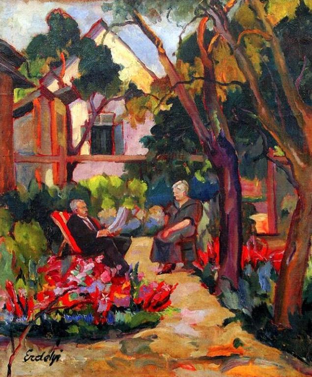 Адальберт Михайлович Эрдели. Родители художника в саду
