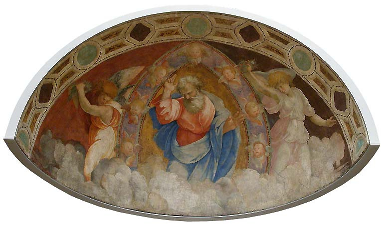 Raphael Sanzio. Blessing God the Father and angels