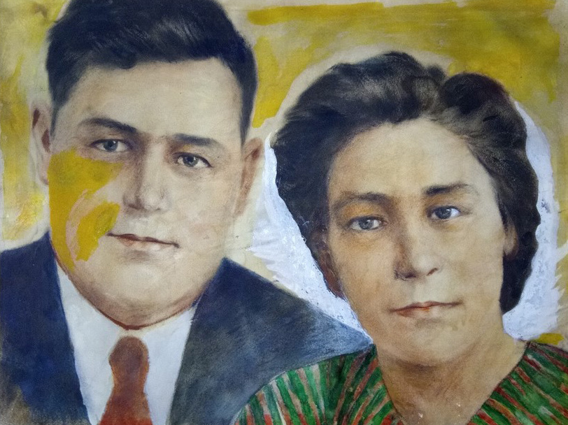 "Vasily Fadeevich Demin. Portrait ""Sister Olga Fadeevna with her husband"""