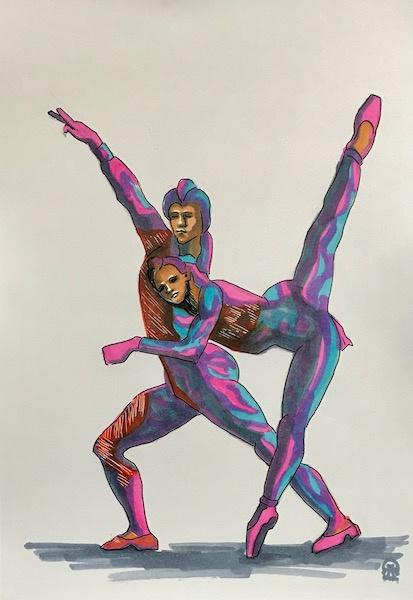 Larissa Lukaneva. Dancers Sketch.