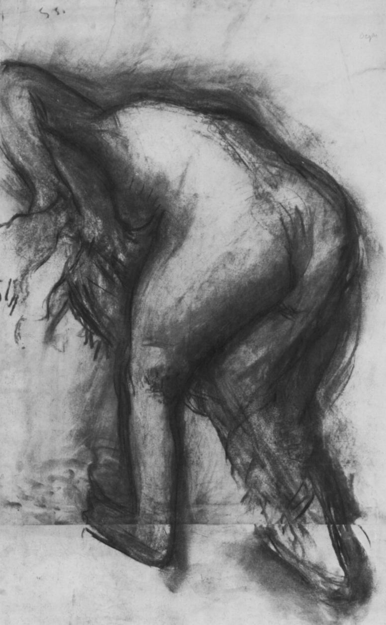 Edgar Degas. Leaning Nude, wiping his feet, from behind