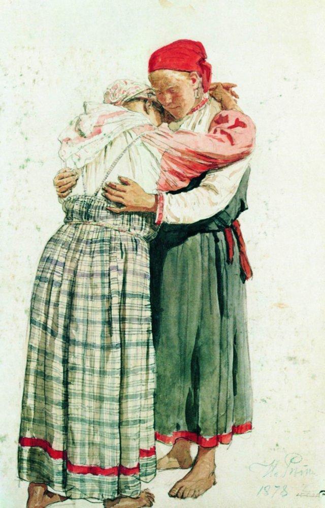 Ilya Efimovich Repin. Two female figures (Embracing the woman). Etude