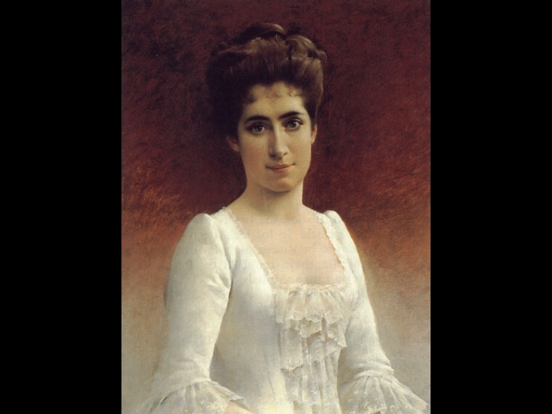 Gunnar Berndtson. Portrait of a young lady in a white dress