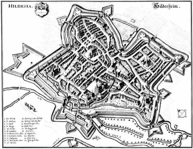 Маттеус Мериан Старший. Гильдесгейм, панорамный план с юго-запада