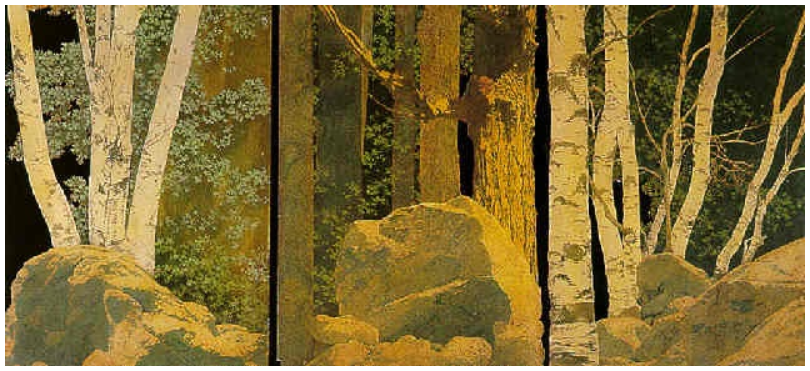 "Максфилд Пэрриш. Дизайн декораций для постановки ""Буря"". Триптих"
