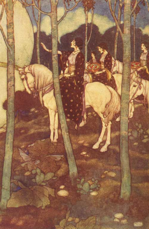 Edmund Dulac. Illustration for the fairy tales of 1001 night. 002