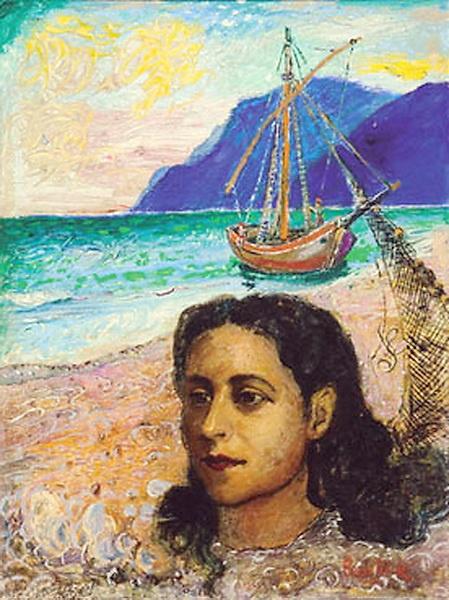 Давид Давидович Бурлюк. Женщина на пляже