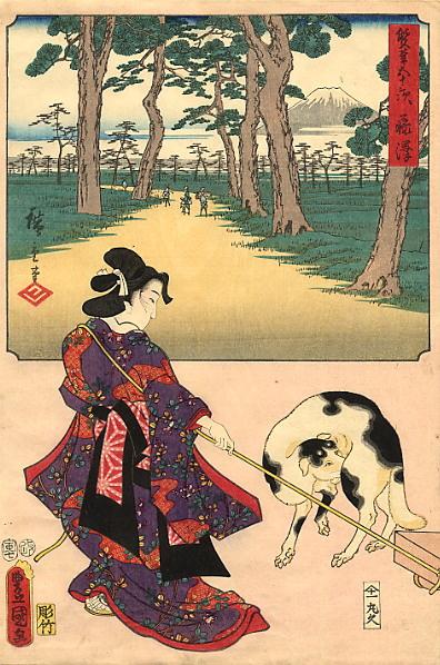 Хиросигэ Кунисада. Прогулка в саду