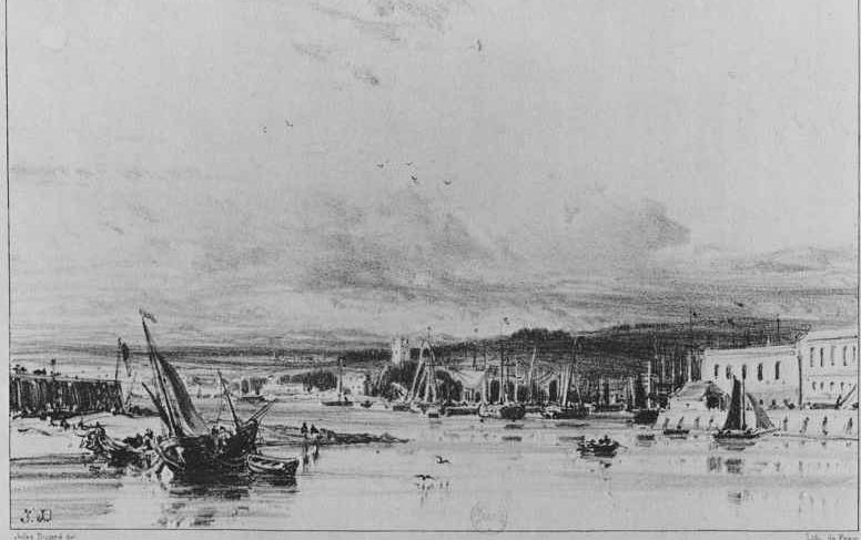 Жюль Дюпре. Вид на гавань в Плимуте