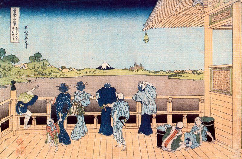 Кацусика Хокусай. Вид Эдо из храма Ракан-дзи в Хондзё