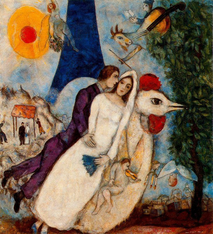 Marc Chagall. The betrothed and Eiffel tower