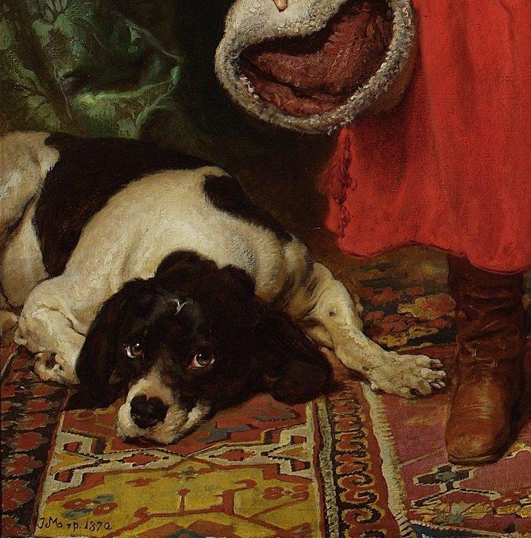 Ян Матейко. Портрет детей художника. Фрагмент. Собака
