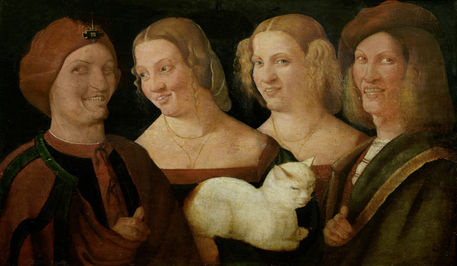 Niccolo Frangipane. Four laughing man with a cat