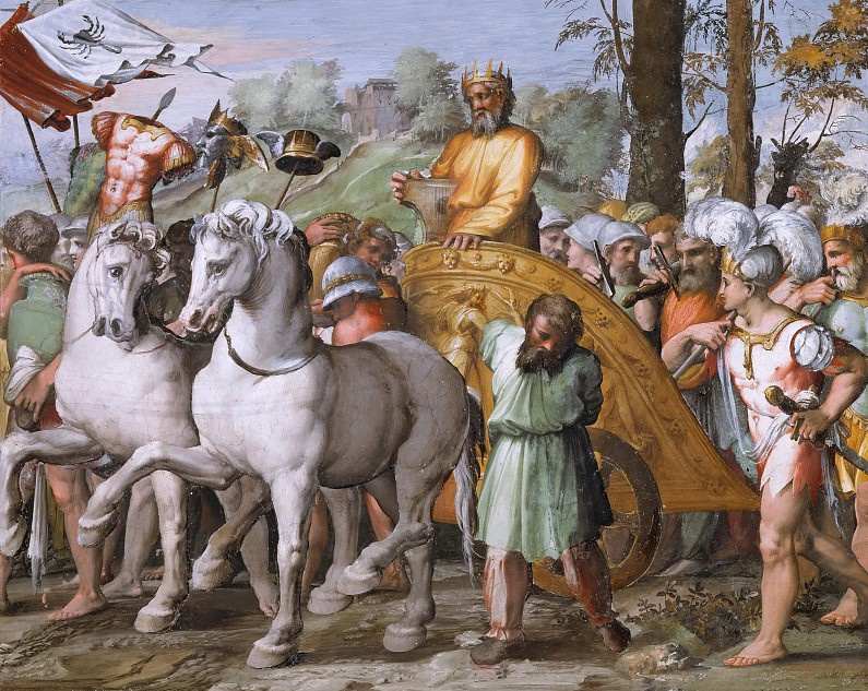 Raphael Sanzio. The victory of David over amoritami. The fresco of Raphael loggias of the Palace of the Pope in the Vatican