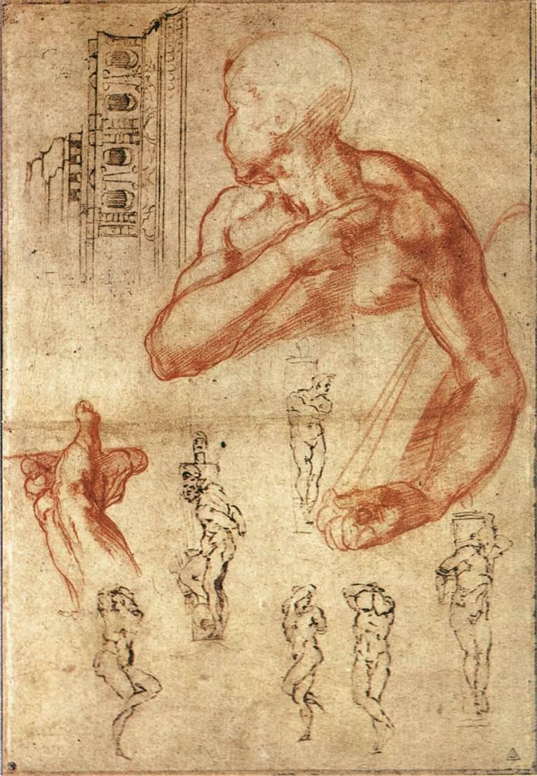 Michelangelo Buonarroti. The Libyan sibyl (sketch)