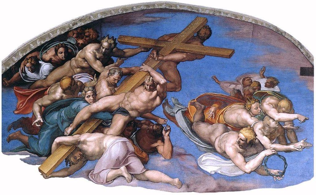 Микеланджело Буонарроти. Страшный суд. Левый люнет: Ангелы с атрибутами Страстей Христовых
