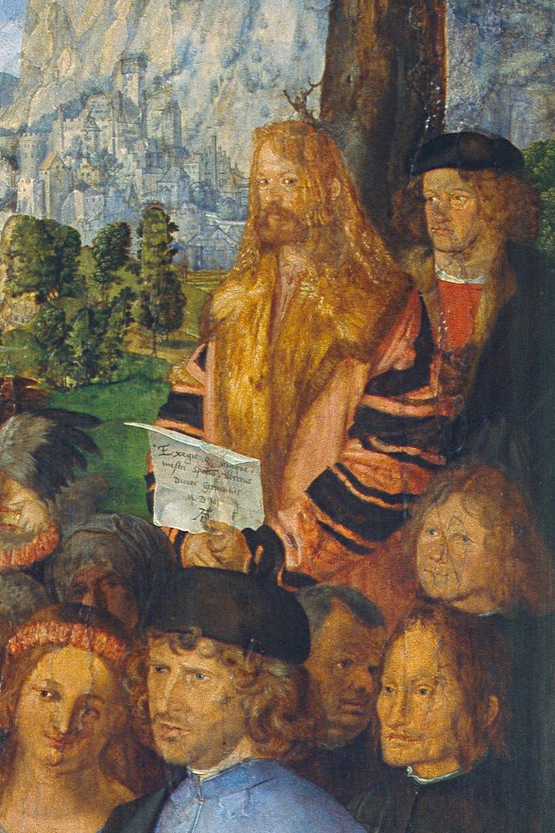 Albrecht Durer. Feast of the Rose Garlands, detail. Self-portrait