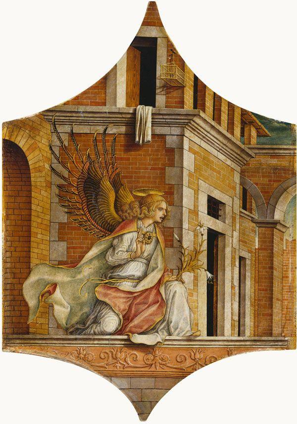 Карло Кривелли. Благовествующий ангел. Алтарный триптих из собора Камерино, левое навершие