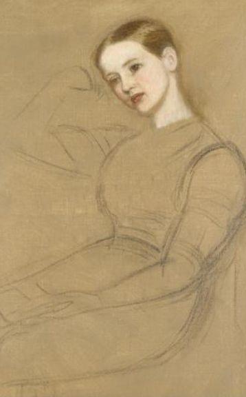 Артур Хьюз. Сидящая девушка. Эскиз