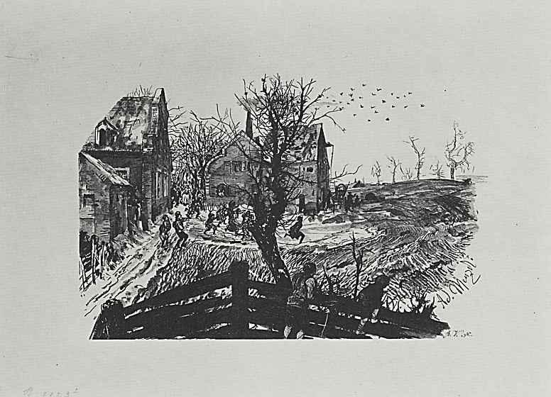 """Адольф фон Менцель. Иллюстрация к """"Разбитому кувшину"""" Генриха фон Кляйста, Жители деревни преследуют убегающего Адама"""