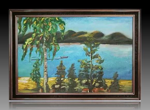 "Olga Trankvillevskaya. ""The Volga"" oil on canvas painting"