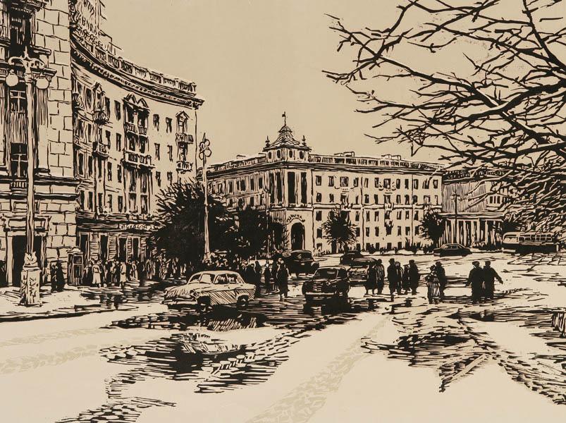Semyon Petrovich Gerus. Minsk. Square of victory. 1960. Color linocut on paper. 45.3x60.8