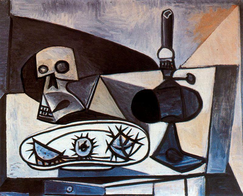 Пабло Пикассо. Череп, морские ежи и лампа на столе