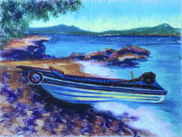 Larissa Lukaneva. Phu Quoc. A boat. Sketch.