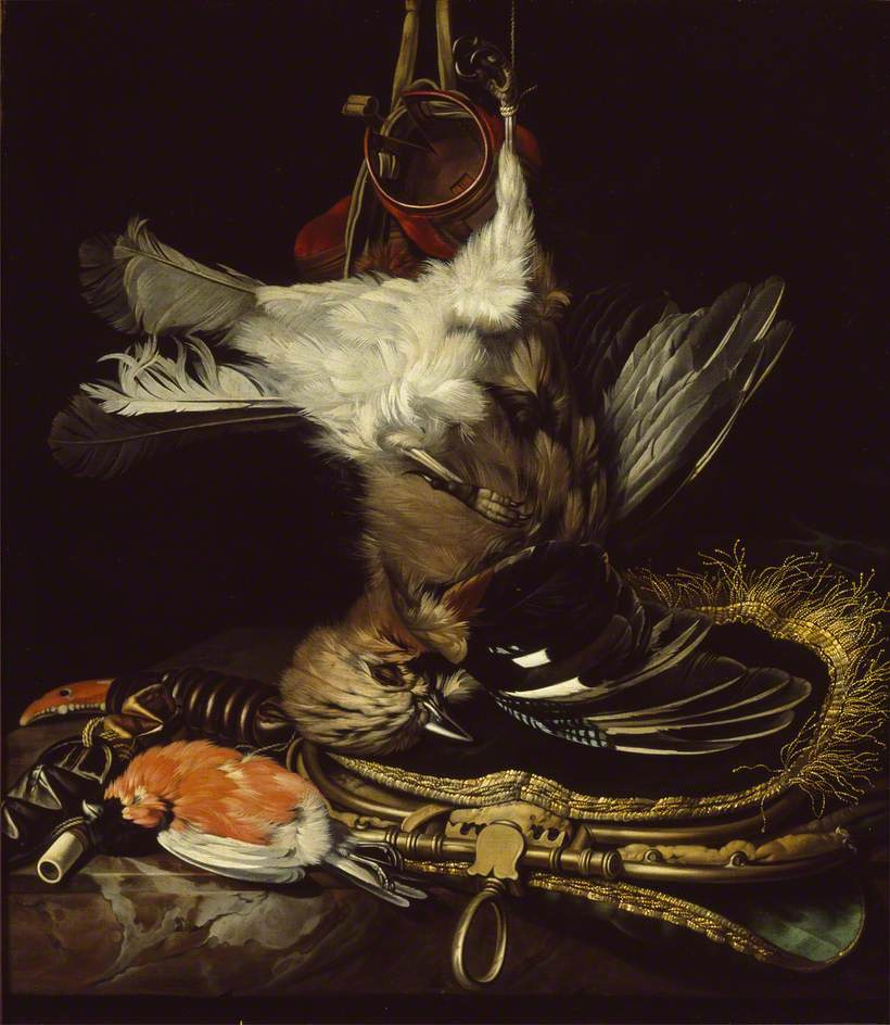 Willem van Aelst. Still life with a dead Jay and hunting accessories