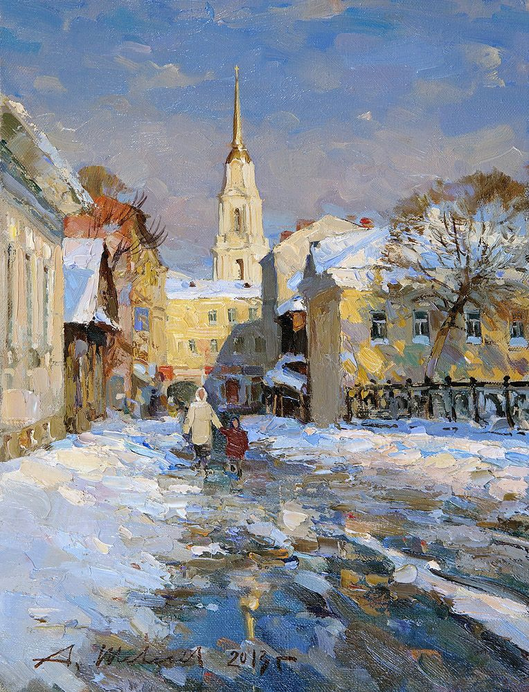 Alexander Shevelyov. Rybinsk.Voznesensky pereulok.Oil on canvas 29 x 37,7 cm 2013
