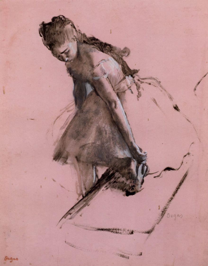Edgar Degas. Ballerina, combing a Shoe slipped
