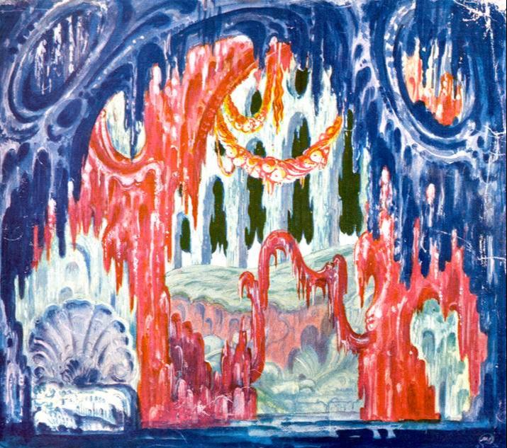 """Mstislav Dobuzhinsky. Grotto. Sketch of scenery for Wagner's opera """"Tannhäuser"""". 1930"""