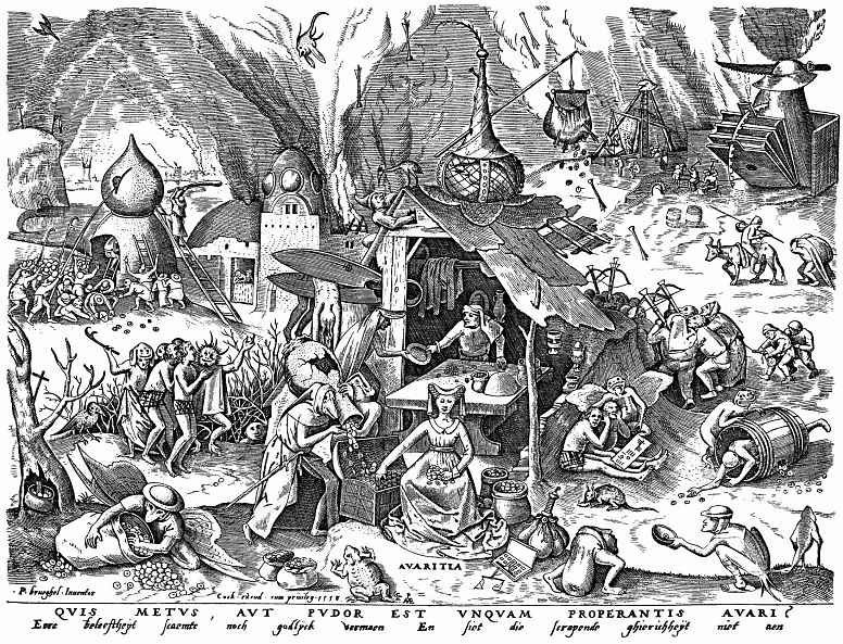 "Pieter Bruegel The Elder. The series ""Seven deadly sins"". Greed"