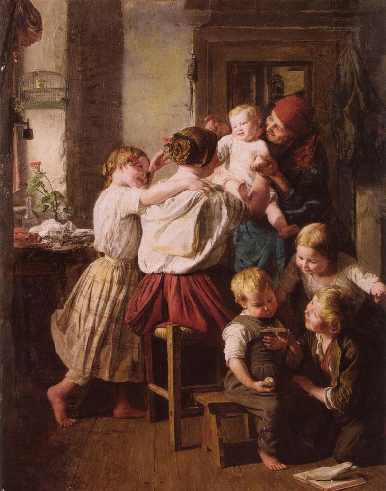Фердинанд Георг Вальдмюллер. Дети и их бабушка на ее день