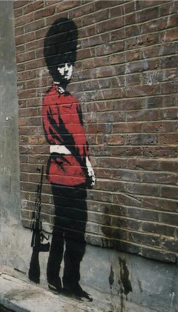 Banksy. Pissing Royal Guardsman