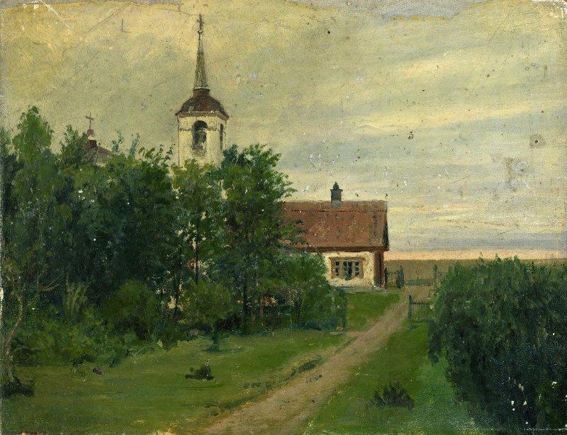 Yakov Petrovich Polonsky. Spasskoye-Lutovinovo. Church and school