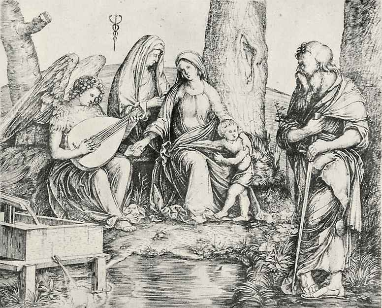 Jacopo de Barbary. The Holy family with Saint Paul and angel