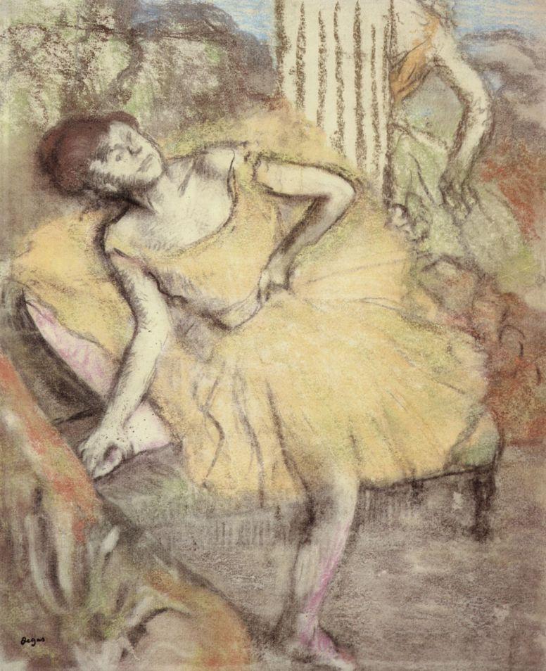 Edgar Degas. Sitting dancer with raised right foot
